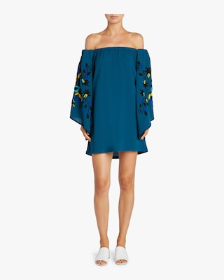 Mini Embroidered Off The Shoulder Dress