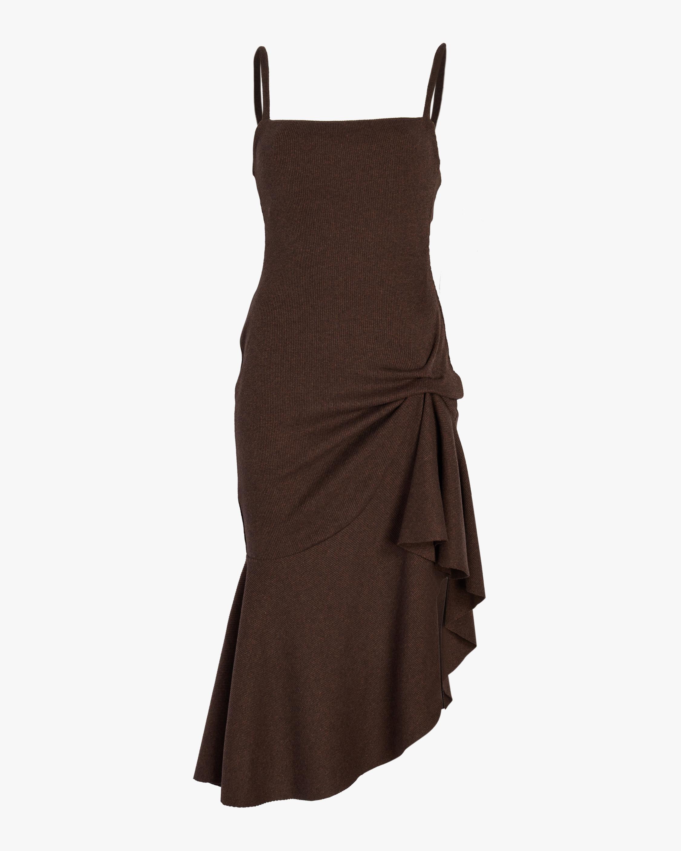 Ribbed Knit Flounce Dress