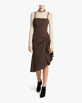 Ribbed Knit Flounce Dress