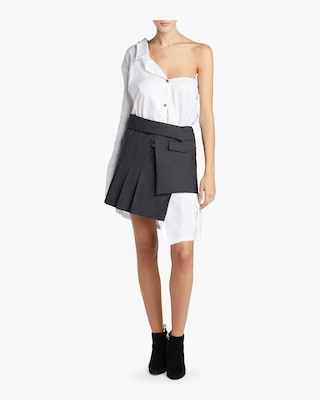 Pleated Wrap Mini Skirt
