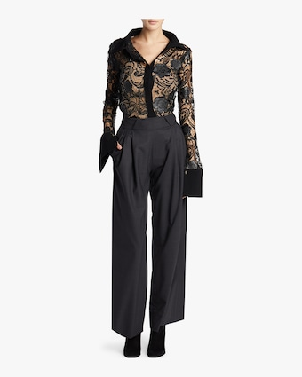 Simone Faux Leather And Lace Shirt