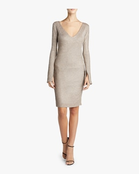 Gabrielle V-Neck Ribbed Knit Dress