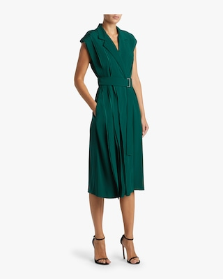 Satin Crepe Wrap Dress