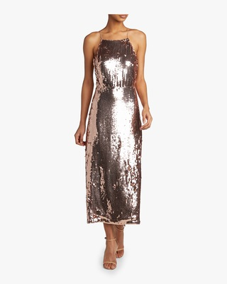 Sequined Georgette Apron Dress
