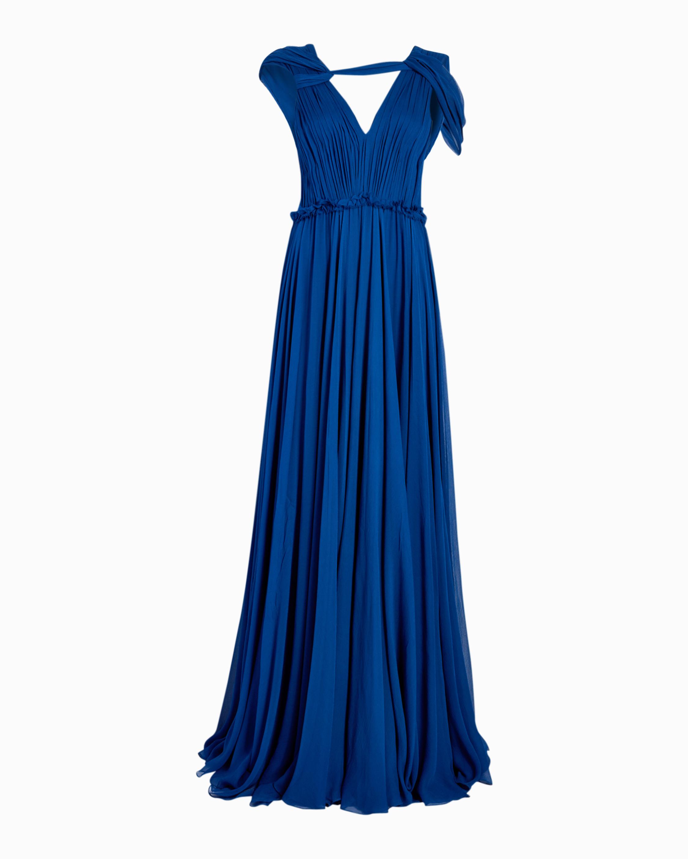 Silk Crinkle Chiffon Evening Gown