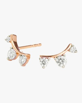 Three Diamond Amigos Curved Earrings