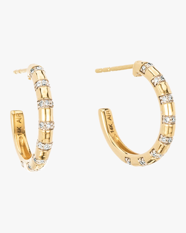 Medium Diamond Stripe Huggie Earrings