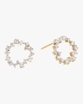 Scattered Diamond Circle Post Earrings