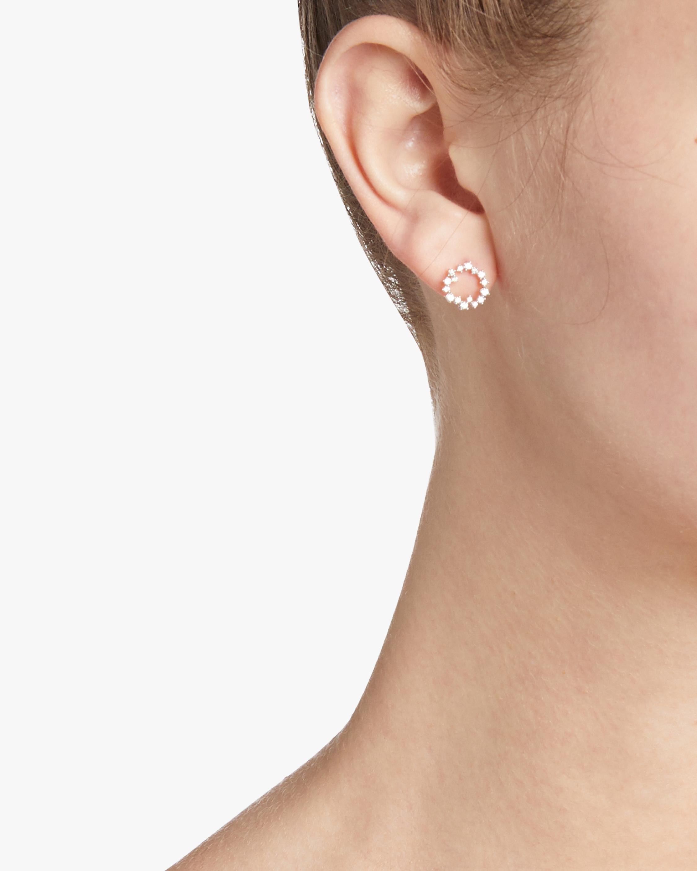 Scattered Diamond Circle Post Earrings