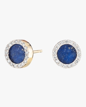 Lapis and Diamond Disc Post Earrings