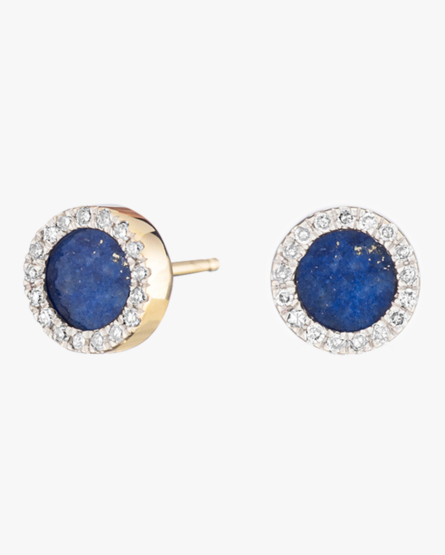 Lapis and Diamond Disc Post Earrings
