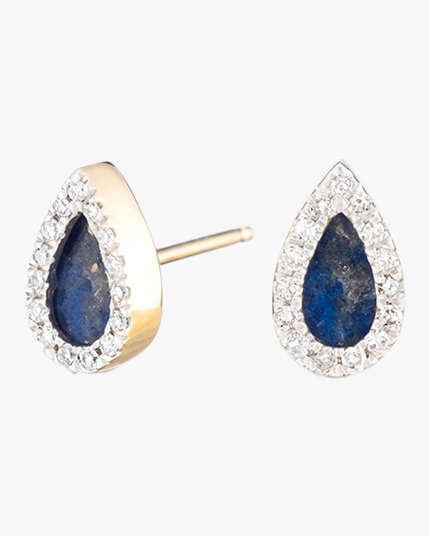 Lapis and Diamond Teardrop Post Earrings