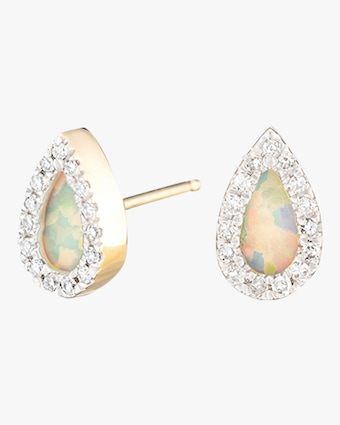 Opal and Diamond Teardrop Post Earrings