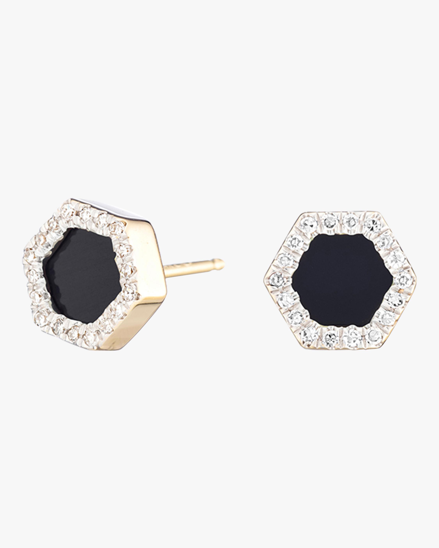 Onyx and Diamond Hexagon Post Earrings