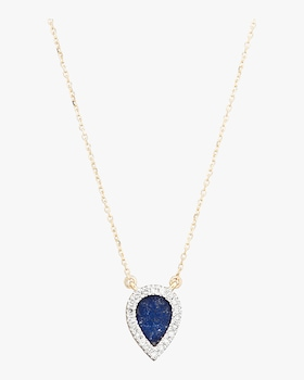Lapis and Diamond Teardrop Pendant Necklace
