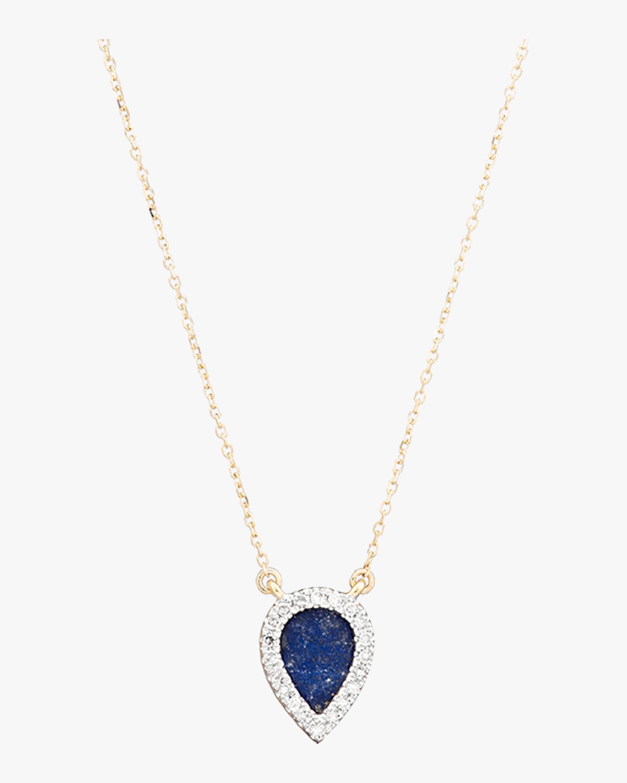 Lapis and Diamond Teardrop Pendant Necklace