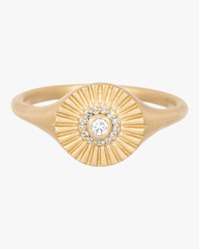 Diamond Rays Signet Ring