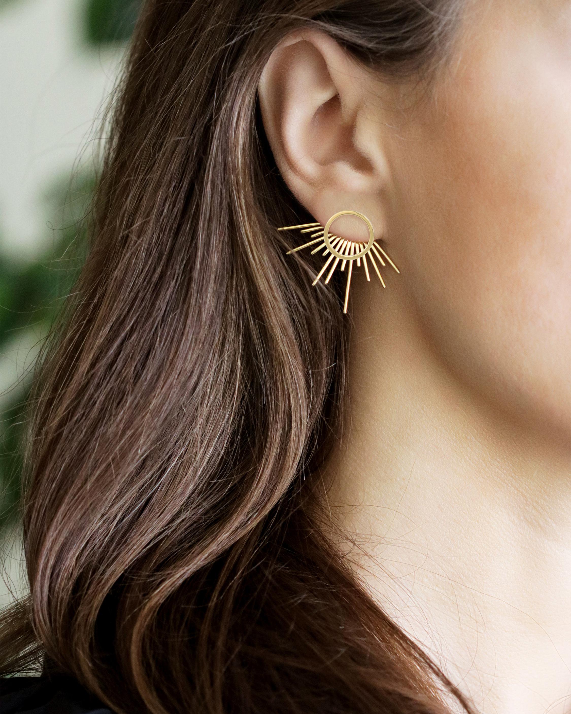 Golden Halo Starburst Stud Earrings