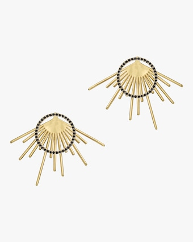 Black Spinel Pavé Halo Starburst Stud Earrings