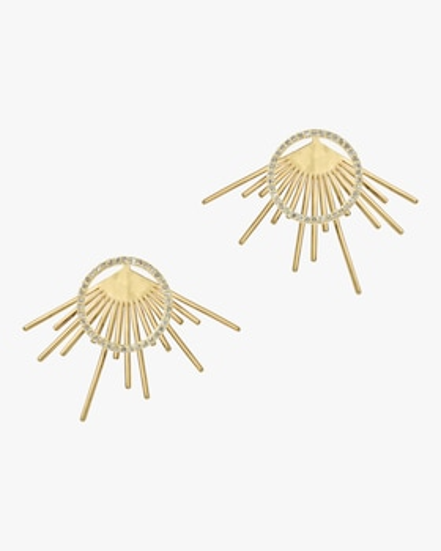 Diamond Pavé Halo Starburst Stud Earrings