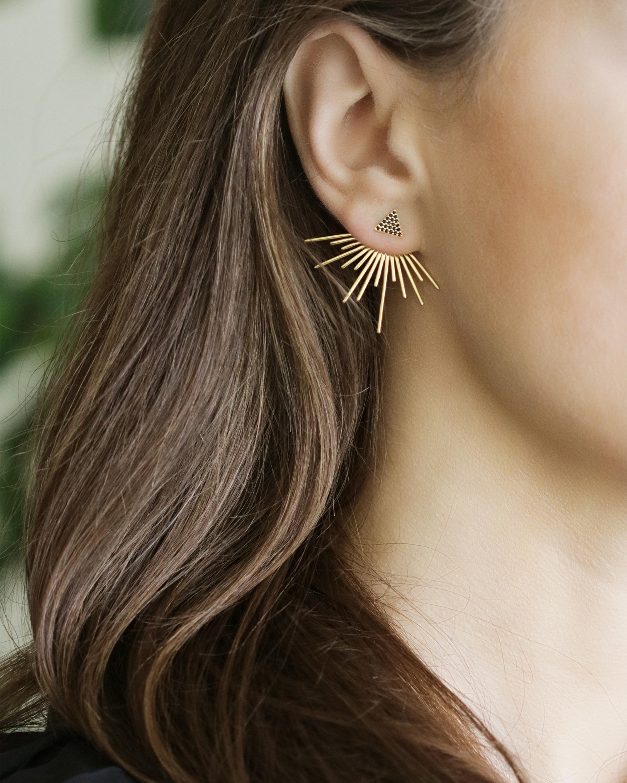 Black Spinel Pavé Trilogy Starburst Stud Earrings