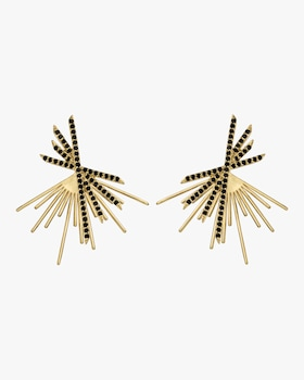 Black Spinel Pavé Starburst Stud Earrings