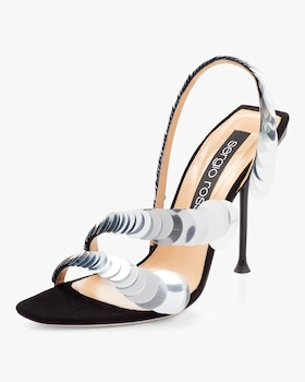 Suede and Sequin Sandal
