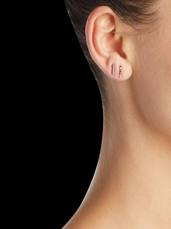 Rainbow Diamond Bar Stud Earrings