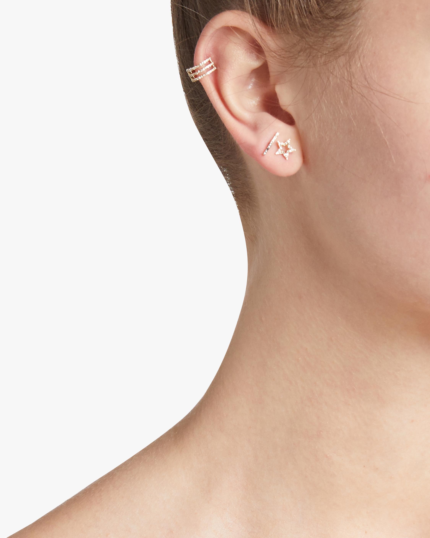 Diamond Open Star Stud Earrings