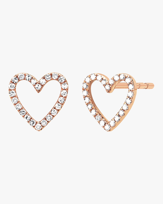 Diamond Open Heart Stud Earrings