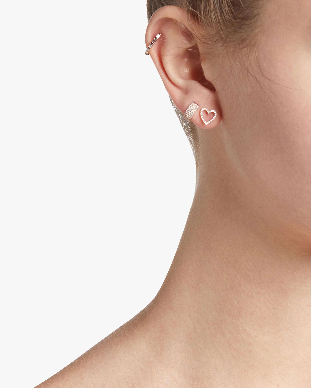 EF Collection Diamond Open Heart Stud Earrings 1