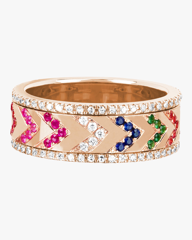 Diamond Rainbow Chevron Spinning Ring