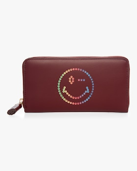 Rainbow Wink Large Zip Around Wallet