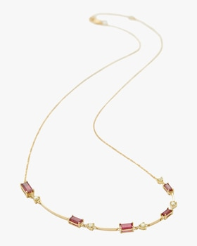 Ruby and Canary Yellow Diamond Bar Necklace
