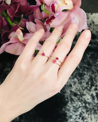 Yi Collection Ruby Heart Pinky Ring 2