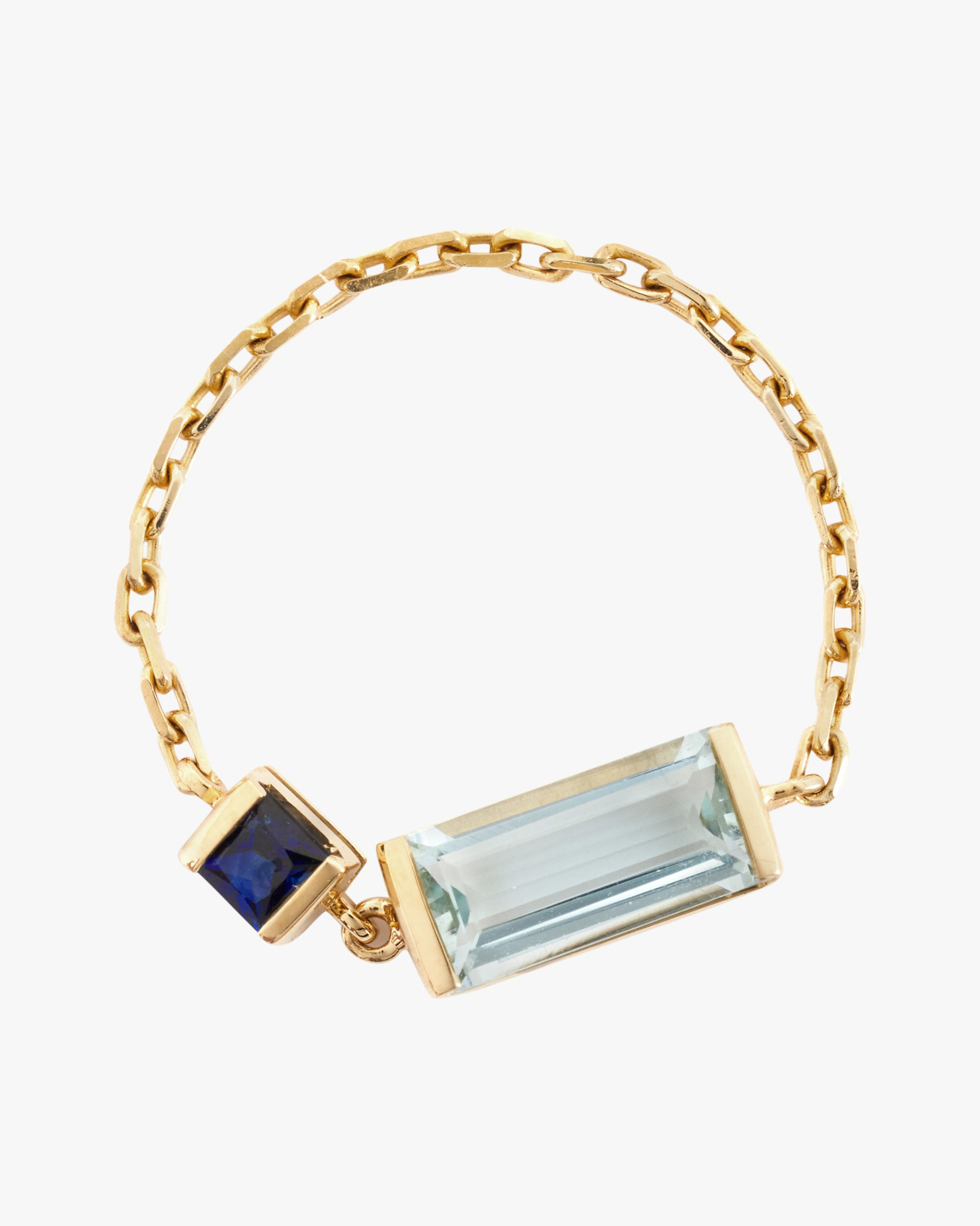 Yi Collection Aquamarine and Sapphire Chain Ring 1