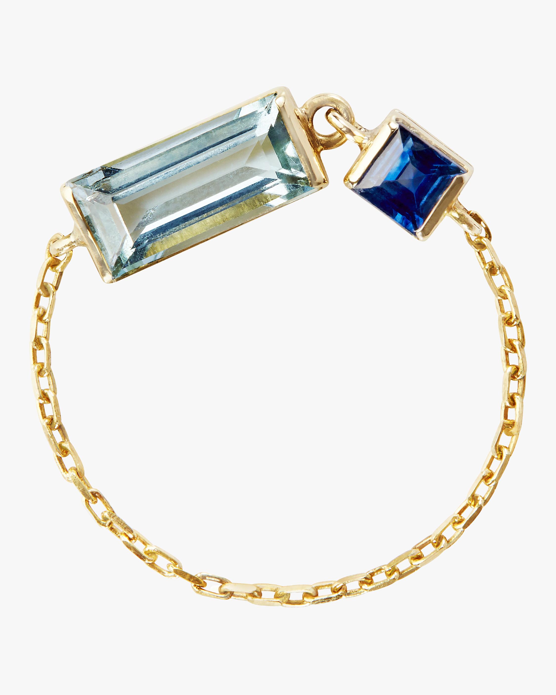 Aquamarine and Sapphire Chain Ring