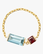 Yi Collection Aquamarine and Ruby Chain Ring 0
