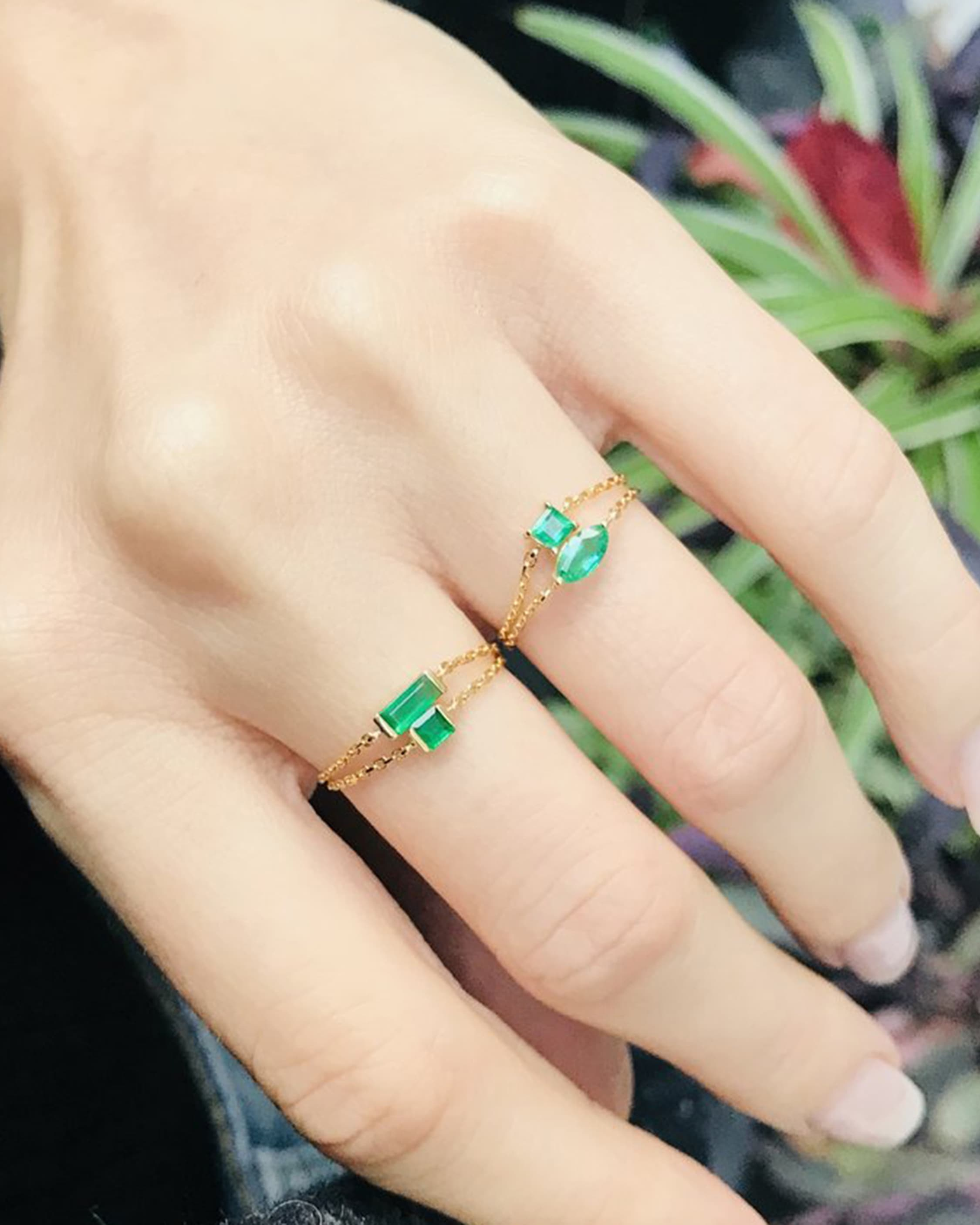 Yi Collection Emerald Baguette Chain Ring 2