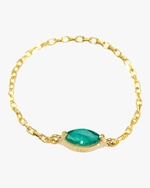 Yi Collection Emerald Small Marquisee Chain Ring 0