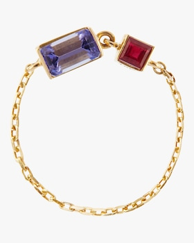 Tanzanite and Ruby Chain Ring
