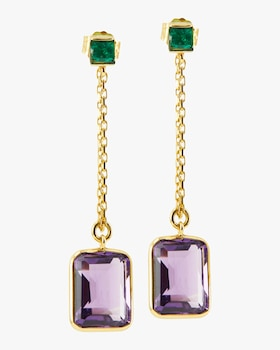 Emerald and Amethyst Chain Earrings