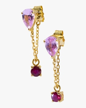 Pink Topaz and Ruby Chain Earrings