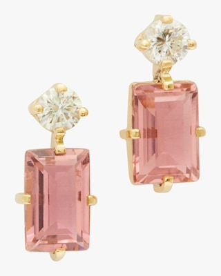 Yi Collection Pink Tourmaline and Diamond Deco Earrings 1