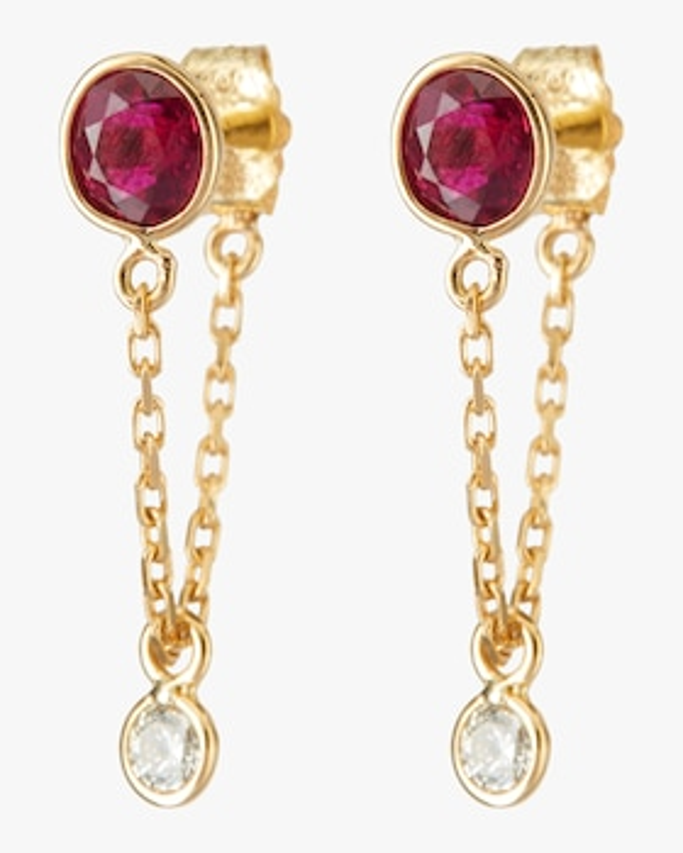 Ruby and Diamond Chain Earrings