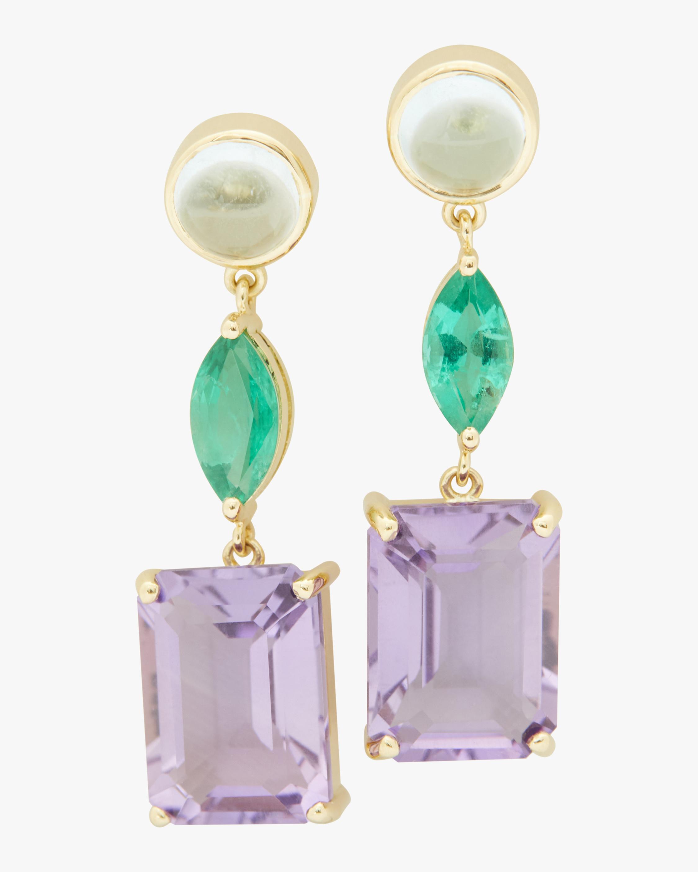 Topaz, Emerald, and Amethyst Earrings