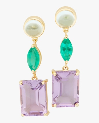 Yi Collection Topaz, Emerald, & Amethyst Earrings 1