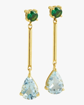 Tsavorite and Aquamarine Raindrop Earrings