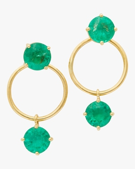 Emerald Double Happiness Earrings