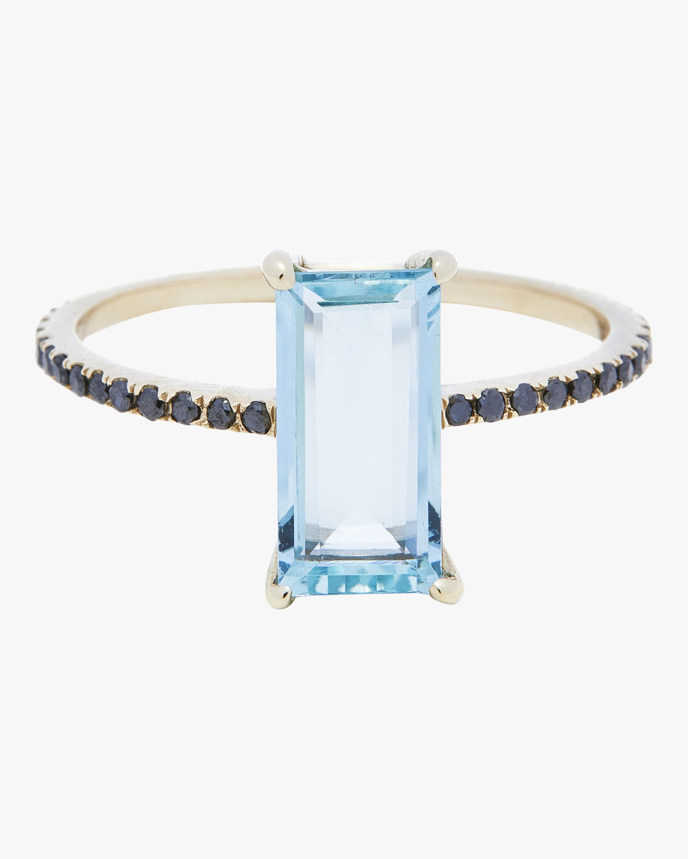 Yi Collection Aquamarine and Black Diamond Ring 0